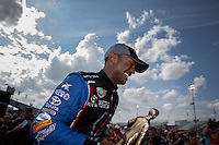 May 11, 2013; Commerce, GA, USA: NHRA top fuel dragster driver Antron Brown celebrates after winning the Southern Nationals at Atlanta Dragway. Mandatory Credit: Mark J. Rebilas-