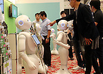 July 20, 2016, Tokyo, Japan - Softbank's humanoid robot Peppers are displayed at a press preview of the Pepper World exhibition in Tokyo on Wednesday, July 20, 2016. Pepper's latest applications and accessories will be exhibited at the Pepper World robot exhibition on July 21 and 22.      (Photo by Yoshio Tsunoda/AFLO)