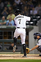 Ryan Cordell (7) of the Charlotte Knights at bat against the Scranton/Wilkes-Barre RailRiders at BB&T BallPark on April 12, 2018 in Charlotte, North Carolina.  The RailRiders defeated the Knights 11-1.  (Brian Westerholt/Four Seam Images)