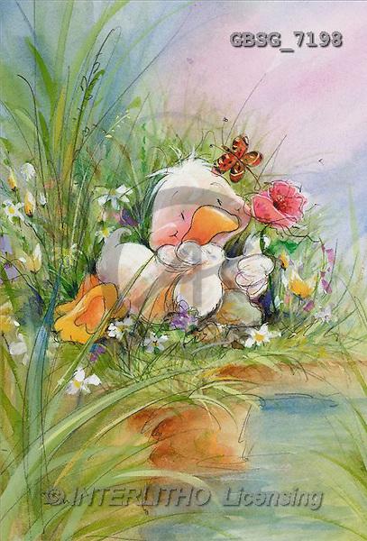 Ron, CUTE ANIMALS, Quacker, paintings, duck, rose(GBSG7198,#AC#) Enten, patos, illustrations, pinturas
