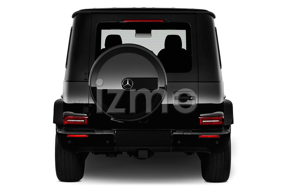 Straight rear view of a 2019 Mercedes Benz G-Class G-550 5 Door SUV stock images