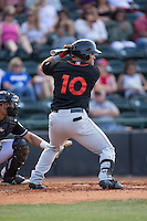 D.J. Stewart (10) of the Delmarva Shorebirds at bat against the Hickory Crawdads at L.P. Frans Stadium on June 18, 2016 in Hickory, North Carolina.  The Crawdads defeated the Shorebirds 1-0 in game one of a double-header.  (Brian Westerholt/Four Seam Images)