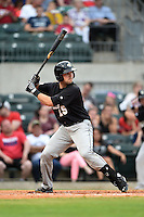 San Antonio Missions catcher Austin Hedges (15) at bat during a game against the Arkansas Travelers on May 24, 2014 at Dickey-Stephens Park in Little Rock, Arkansas.  Arkansas defeated San Antonio 4-2.  (Mike Janes/Four Seam Images)