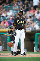 Jabari Blash (36) of the Salt Lake Bees bats against the New Orleans Baby Cakes at Smith's Ballpark on June 8, 2018 in Salt Lake City, Utah. Salt Lake defeated New Orleans 4-0.  (Stephen Smith/Four Seam Images)