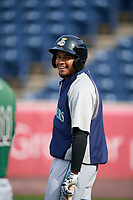 Clinton LumberKings Jhombeyker Morales (3) during batting practice before a game against the West Michigan Whitecaps on May 3, 2017 at Fifth Third Ballpark in Comstock Park, Michigan.  West Michigan defeated Clinton 3-2.  (Mike Janes/Four Seam Images)