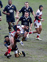 Photo: Richard Lane/Richard Lane Photography. Wasps v Ulster Rugby.  European Rugby Champions Cup. 21/01/2018. Ulster's Charles Piutau is tackled by Wasps' Juan De Jongh.