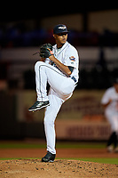 Lakeland Flying Tigers relief pitcher Alfred Gutierrez (28) delivers a pitch during a game against the Tampa Tarpons on April 5, 2018 at Publix Field at Joker Marchant Stadium in Lakeland, Florida.  Tampa defeated Lakeland 4-2.  (Mike Janes/Four Seam Images)