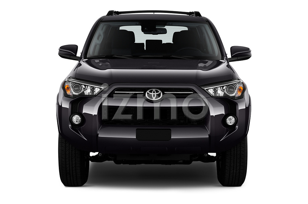 Car photography straight front view of a 2020 Toyota 4-Runner SR5 5 Door SUV Front View