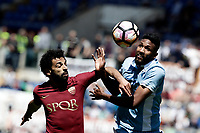Calcio, Serie A: Roma, stadio Olimpico, 30 aprile 2017.<br /> Lazio's Wallace (r) in action with AS Roma's Mohamed Salah (l) during the Italian Serie A football match between AS Roma an Lazio at Rome's Olympic stadium, April 30 2017.<br /> UPDATE IMAGES PRESS/Isabella Bonotto