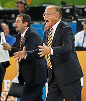"""Serbia`s national basketball team head coach Dusan Ivkovic (R) gestures during European basketball championship """"Eurobasket 2013""""  basketball game for 7th place between Serbia and Italy in Stozice Arena in Ljubljana, Slovenia, on September 21. 2013. (credit: Pedja Milosavljevic  / thepedja@gmail.com / +381641260959)"""