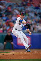 Buffalo Bisons starting pitcher Ryan Borucki (54) delivers a pitch during a game against the Pawtucket Red Sox on August 31, 2017 at Coca-Cola Field in Buffalo, New York.  Buffalo defeated Pawtucket 4-2.  (Mike Janes/Four Seam Images)