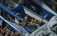BOGOTA - COLOMBIA -14 -02-2015: Segudores de Milloanrios corean a su equipo durante ell encuentro entre Millonarios y Cúcuta Deportivo por la fecha 4 de la Liga Águila I 2015 jugado en el estadio Nemesio Camacho El Campín de la ciudad de Bogotá./ Followers of Millonarios chant to their tram during the match between Millonarios and Cucuta Deportivo for the 4th date of the Aguila League I 2015 played at Nemesio Camacho El Campin stadium in Bogotá city. Photo: VizzorImage / Gabriel Aponte / Staff.