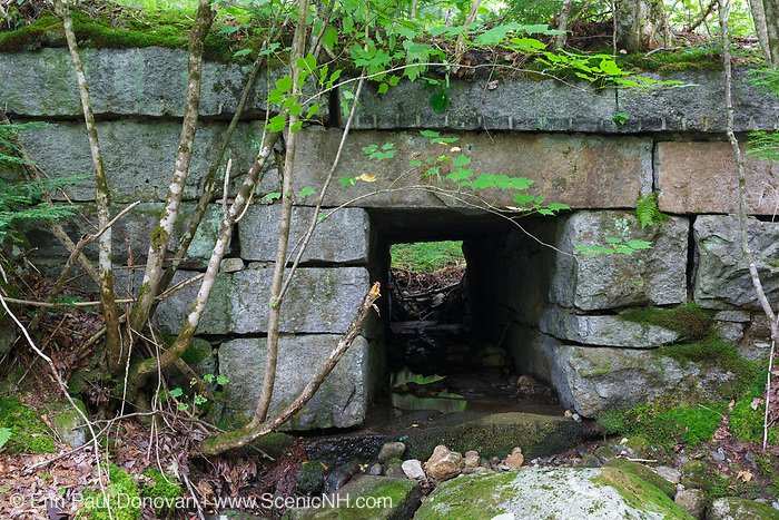Stone culvert, east of the Pinkham B Road (Dolly Copp Road) crossing, along the old railroad bed of the Boston & Maine's Berlin Branch in Randolph, New Hampshire. Opened in the mid-1800s, and abandoned in the 1990s, the 18 mile long Berlin Branch is now a multi-use trail - the Presidential Recreational Rail Trail.