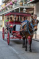 French Quarter, New Orleans, Louisiana.  Mule-drawn Carriage and Passengers.