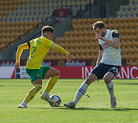 Preston North End's Tom Barkhuizen (right) vies for possession with Norwich City's Max Aarons (left) <br /> <br /> Photographer David Horton/CameraSport<br /> <br /> The EFL Sky Bet Championship - Norwich City v Preston North End - Saturday 19th September 2020 - Carrow Road - Norwich<br /> <br /> World Copyright © 2020 CameraSport. All rights reserved. 43 Linden Ave. Countesthorpe. Leicester. England. LE8 5PG - Tel: +44 (0) 116 277 4147 - admin@camerasport.com - www.camerasport.com