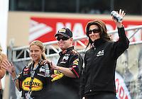 Jul. 31, 2011; Sonoma, CA, USA; NHRA funny car driver Melanie Troxel (right) with Paul Lee during the Fram Autolite Nationals at Infineon Raceway. Mandatory Credit: Mark J. Rebilas-