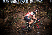 Lotte Kopecky (BEL/Lotto-Soudal) up the infamous Koppenberg .<br /> <br /> Koppenbergcross 2020 (BEL)<br /> women's race<br /> <br /> ©kramon