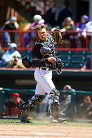 Erie Seawolves catcher Austin Green (3) checks the runner after catching a pop up in foul territory during a game against the Richmond Flying Squirrels on May 20, 2015 at Jerry Uht Park in Erie, Pennsylvania.  Erie defeated Richmond 5-2.  (Mike Janes/Four Seam Images)