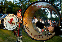Pipe and Drum bands warm up during the 52nd Annual Grandfather Mountain Highland Games in Linville, NC.