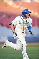 Hartford Yard Goats right fielder Dillon Thomas (25) runs to first base during the second game of a doubleheader against the Trenton Thunder on June 1, 2016 at Sen. Thomas J. Dodd Memorial Stadium in Norwich, Connecticut.  Trenton defeated Hartford 2-1.  (Mike Janes/Four Seam Images)