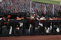 SAN FRANCISCO, CA - SEPTEMBER 27:  Evan Longoria #10 of the San Francisco Giants and his teammates watch from the dugout in the bottom of the 9th inning of their game against the San Diego Padres at Oracle Park on Sunday, September 27, 2020 in San Francisco, California. (Photo by Brad Mangin)