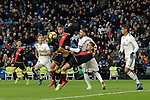 (L to R) Real Madrid's Marcos Llorente, Sergio Ramos, Raphael Varane and Rayo Vallecano's Alex Moreno, Emiliano Velazquez and Alvaro Medran during La Liga match. December,15,2018. (ALTERPHOTOS/Alconada)
