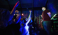 10 Jan 2015 - STOWMARKET, GBR - Sam Robson of Renegade Twelve on vocals leads the crowd in a song  at the John Peel Centre for Creative Arts in Stowmarket, Suffolk, Great Britain (PHOTO COPYRIGHT © 2015 NIGEL FARROW, ALL RIGHTS RESERVED)