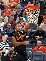 Jan. 27, 2011; Charlottesville, VA, USA; Maryland Terrapins guard Adrian Bowie (1) shoots a basket during the game against the Virginia Cavaliers at the John Paul Jones Arena. Maryland won 66-42. Mandatory Credit: Andrew Shurtleff