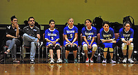 14 October 2012: Members of the Yeshiva University Maccabees watch play from the bench during a game against the St. Joseph's Lady Bears at Culinary Institute of America in Hyde Park, NY. Pictured (left to right): Head Coach Roxanne Prendergast, Assistant Coach Arnold Ross, Shana Wolfstein, a Sophomore from Burlington, VT, Julia Packer, a Sophomore from Newton, MA, Gabi Katz, a Sophomore from New Rochelle, NY, Sara Weinberger, a Sophomore from Teaneck, NJ, and Samantha Selesny, a Senior from W. Hempstead, NY. The Lady Bears defeated the Maccabees 3-0 in NCAA women's volleyball play. Mandatory Credit: Ed Wolfstein Photo