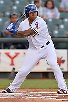 Round Rock Express out fielder Michael Choice (20) during pacific coast league baseball game, Friday August 15, 2014 in Round Rock, Tex. Reno defeats Round Rock 11-9 to sweep three game series. (Mo Khursheed/TFV Media via AP Images)