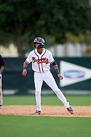 GCL Braves shortstop Juan Morales (24) leads off second base during the first game of a doubleheader against the GCL Yankees West on July 30, 2018 at Champion Stadium in Kissimmee, Florida.  GCL Yankees West defeated GCL Braves 7-5.  (Mike Janes/Four Seam Images)