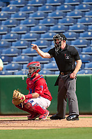 Umpire Austin Nelson and catcher Juan Aparicio (44) during a game between the St. Lucie Mets and Clearwater Threshers on July 1, 2021 at BayCare Ballpark in Clearwater, Florida.  (Mike Janes/Four Seam Images)