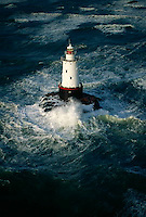 An aerial view of Sakonnet Point Lighthouse during rough seas.