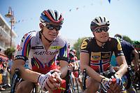 fellow countrymen Alexander Kristoff (NOR/Katusha) & Edvald Boasson Hagen (Nor/MTN-Qhubeka) at the start<br /> <br /> stage 12: Lannemezan - Plateau de Beille (195km)<br /> 2015 Tour de France