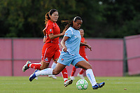 Rosana (11) of Sky Blue FC is shadowed by Homare Sawa (10) of the Washington Freedom. Sky Blue FC and the Washington Freedom played to a 4-4 tie during a Women's Professional Soccer match at Yurcak Field in Piscataway, NJ, on July 15, 2009.