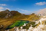 Italy, Veneto, Dolomites, Lago di Valparola, rifugio Valparola, Passo di Valparola, Puez-Odle mountains