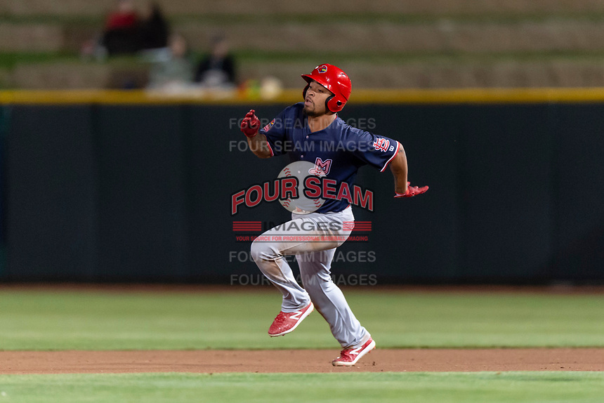 Memphis Redbirds shortstop Edmundo Sosa (12) hustles towards second base during a Pacific Coast League game against the Omaha Storm Chasers on April 26, 2019 at Werner Park in Omaha, Nebraska. Memphis defeated Omaha 7-3. (Zachary Lucy/Four Seam Images)