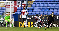 Oldham Athletic's Zak Dearnley (right) scoring his side's second goal <br /> <br /> Photographer Andrew Kearns/CameraSport<br /> <br /> The EFL Sky Bet League Two - Bolton Wanderers v Oldham Athletic - Saturday 17th October 2020 - University of Bolton Stadium - Bolton<br /> <br /> World Copyright © 2020 CameraSport. All rights reserved. 43 Linden Ave. Countesthorpe. Leicester. England. LE8 5PG - Tel: +44 (0) 116 277 4147 - admin@camerasport.com - www.camerasport.com