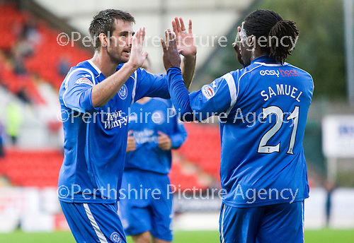 St Johnstone v Morton..24.08.10  CIS Cup Round 2.Scott Dobie celebrates his goal with Collin Samuel.Picture by Graeme Hart..Copyright Perthshire Picture Agency.Tel: 01738 623350  Mobile: 07990 594431