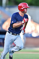 Hagerstown Suns right fielder Cody Dent (10) runs to first during a game against the  Asheville Tourists at McCormick Field on June 7, 2016 in Asheville, North Carolina. The Tourists defeated the Suns 6-5. (Tony Farlow/Four Seam Images)