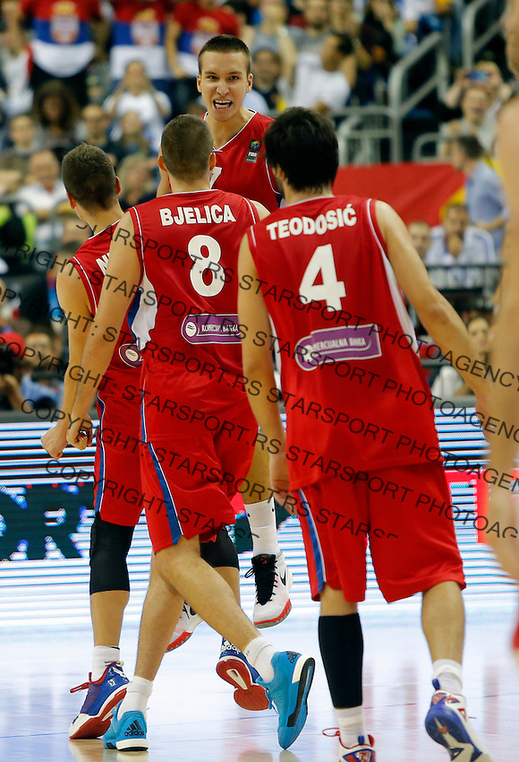 Milos Teodosic Nemanja Bjelica Bogdan Bogdanovic European championship group B basketball game between Spain and Serbia on 05. September 2015 in Berlin, Germany  (credit image & photo: Pedja Milosavljevic / STARSPORT)