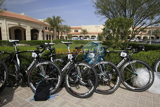 Omega Pharma-Quick Step Specialized bikes lined up before the start of the 3rd Stage of the 2012 Tour of Qatar running 146.5km from Dukhan Souq, Dukhan to Al Gharafa, Qatar. 7th February 2012.<br /> (Photo Eoin Clarke/Newsfile)