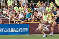 NEWTON, MA - MAY 22: Courtney Weeks #6 of Boston College brings the ball forward during NCAA Division I Women's Lacrosse Tournament quarterfinal round game between Notre Dame and Boston College at Newton Campus Lacrosse Field on May 22, 2021 in Newton, Massachusetts.