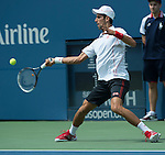 Novak Djokovic (SRB) battles Benjamin Becker (GER) at the US Open being played at USTA Billie Jean King National Tennis Center in Flushing, NY on August 30, 2013