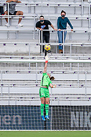 ORLANDO, FL - FEBRUARY 21: Alyssa Naeher #1 of the USWNT watches the ball go over the ball during a game between Brazil and USWNT at Exploria Stadium on February 21, 2021 in Orlando, Florida.