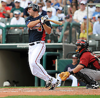 15 March 2009: Outfielder Jeff Francouer (7) of the Atlanta Braves hits in a game against the Houston Astros at the Braves' Spring Training camp at Disney's Wide World of Sports in Lake Buena Vista, Fla. Photo by:  Tom Priddy/Four Seam Images