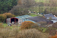 Pictured: The farm where the house that burned is located in Llangammarch Wells, Powys, Wales, UK. Tuesday 31 October 2017<br /> Re: Investigations continue into a house fire in which a father and several of his children have died.<br /> Three children aged 13, 12 and 10 escaped the farmhouse in Llangammarch Wells, Powys, in the early hours of Monday and raised the alarm.<br /> Police said they could not identify the deceased or confirm numbers.<br /> One of those missing has been named locally as David Cuthbertson.