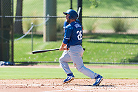 Los Angeles Dodgers outfielder Drew Avans (26) follows through on his swing during an Instructional League game against the Oakland Athletics at Camelback Ranch on September 27, 2018 in Glendale, Arizona. (Zachary Lucy/Four Seam Images)