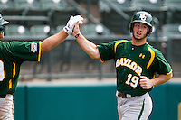 Baylor Bears outfielder Logan Vick #19 scores a run during the NCAA Regional baseball game against Oral Roberts University on June 3, 2012 at Baylor Ball Park in Waco, Texas. Baylor defeated Oral Roberts 5-2. (Andrew Woolley/Four Seam Images)
