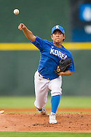 Starting pitcher Myung-June Yoon #11 of Team Korea in action against Team USA at Knights Stadium July 16, 2010, in Fort Mill, South Carolina.  Photo by Brian Westerholt / Four Seam Images